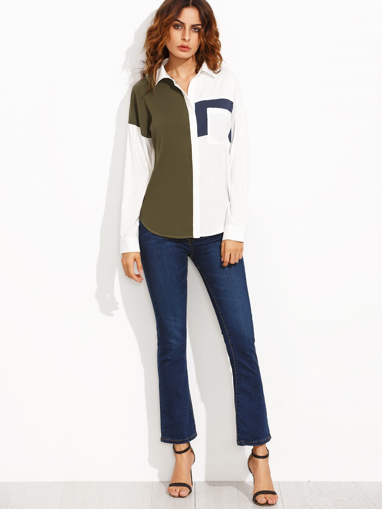 Color Block Lapel Pocket Long Sleeve Blouse