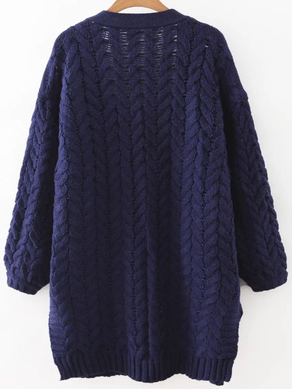 Navy Blue Open Front Cable Knit Sweater Coat With Pocket Shein