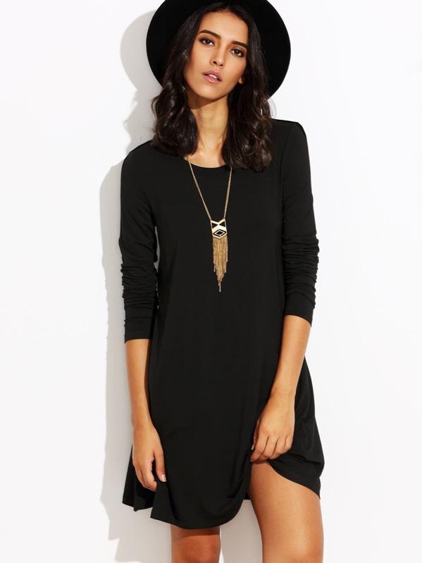 b30a884864078 Robe t-shirt manche longue - noir-French SheIn(Sheinside)