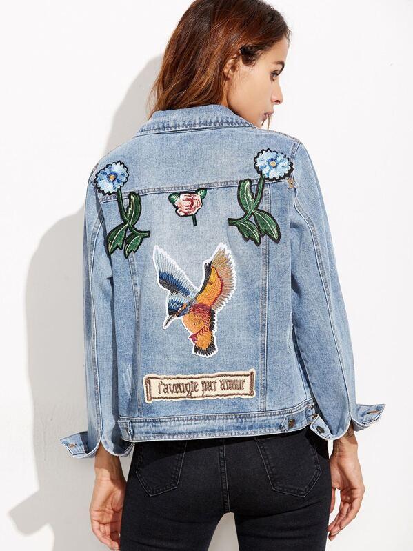 4628757b2fe Синяя джинсовая куртка с вышивкой с заклепками