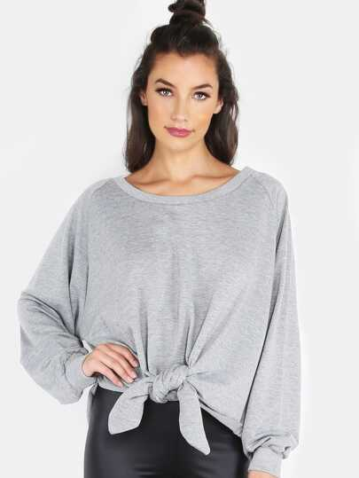 Knotted Crew Neck Sweater HEATHER GREY