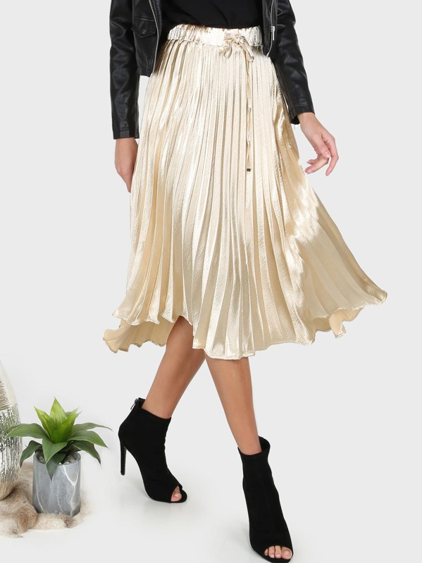 475d4619b1 Pleated Metallic Midi Skirt GOLD | SHEIN