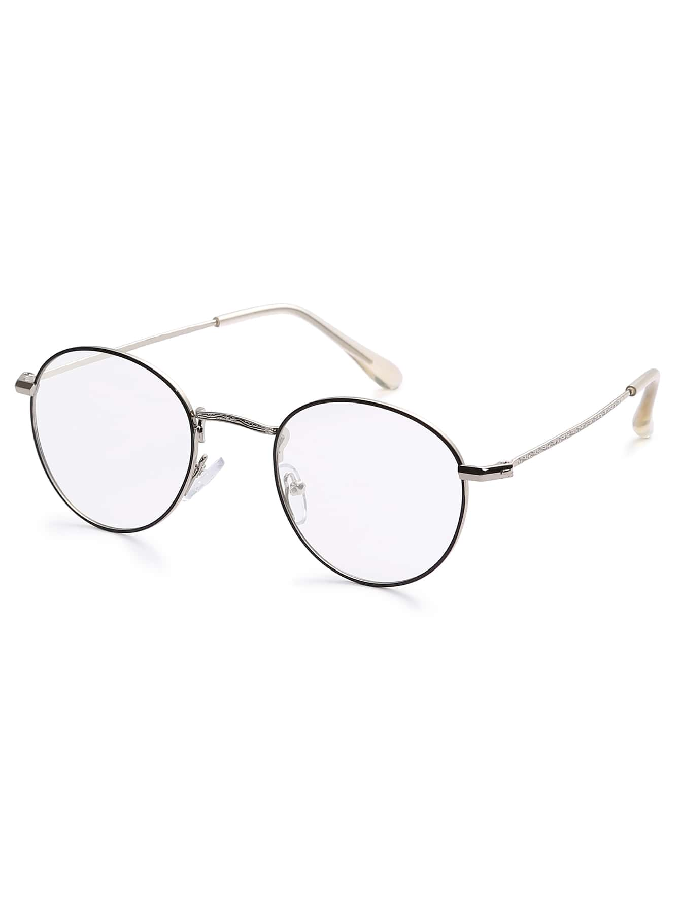 7044c6113d56 Silver Metal Frame Clear Lens Glasses -SheIn(Sheinside)