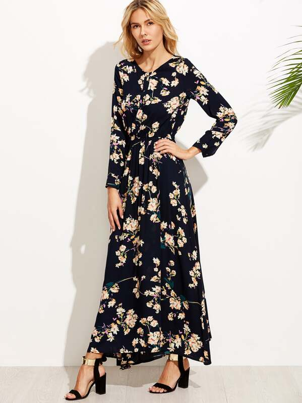 Long Button Front Maxi Dress