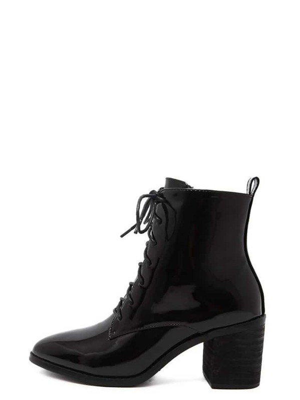 54d49b02866 Black Patent Leather Pointed Lace Up Chunky Boots