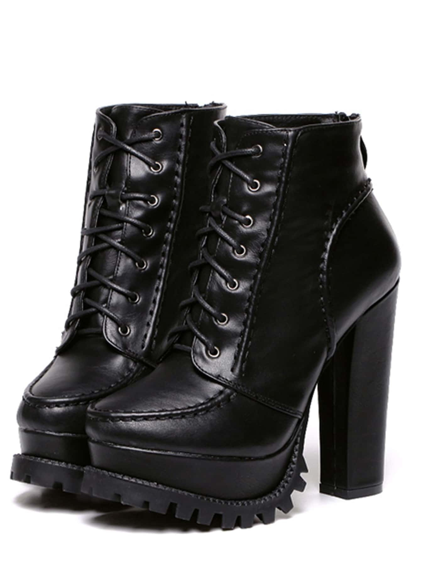 black faux leather lace up back zipper boots shein sheinside