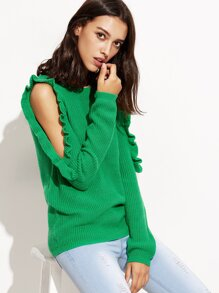 Jersey con hombros al aire de volantes - verde
