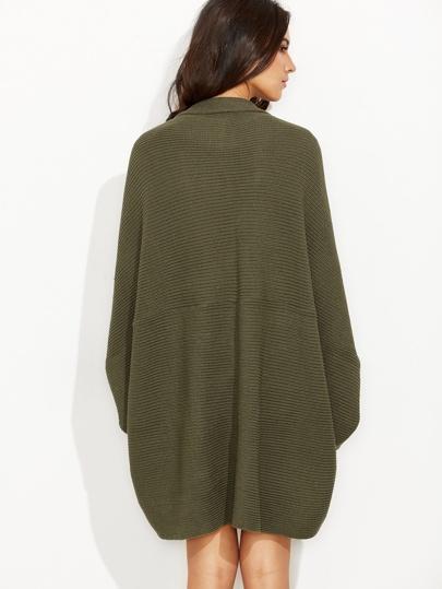 Olive Green Shawl Collar Open Front Cocoon Cardigan  481b9ef8c