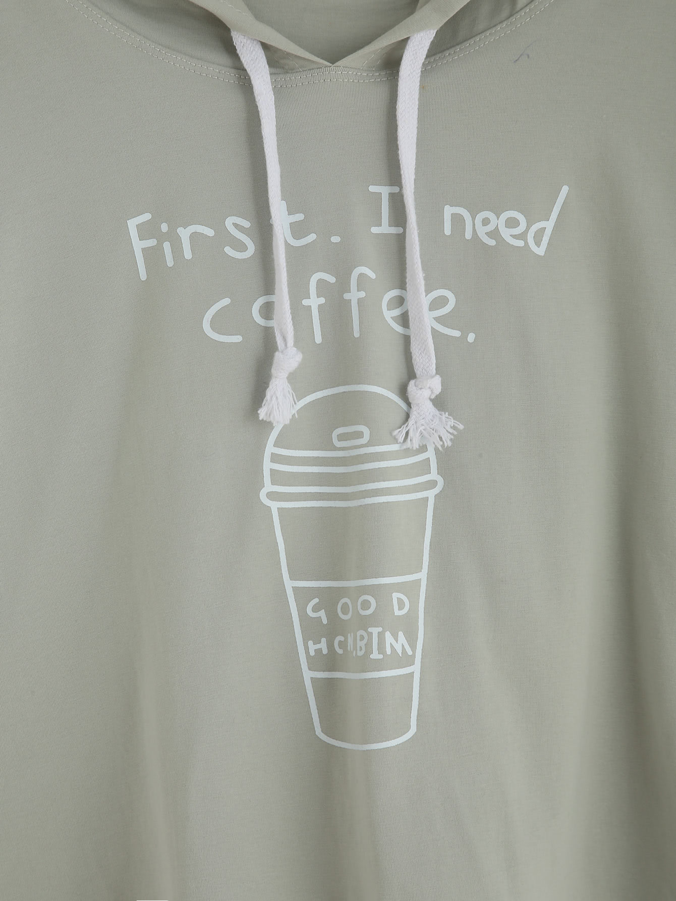 Coffee Cup Slogan Print Drawstring Hooded T-shirt