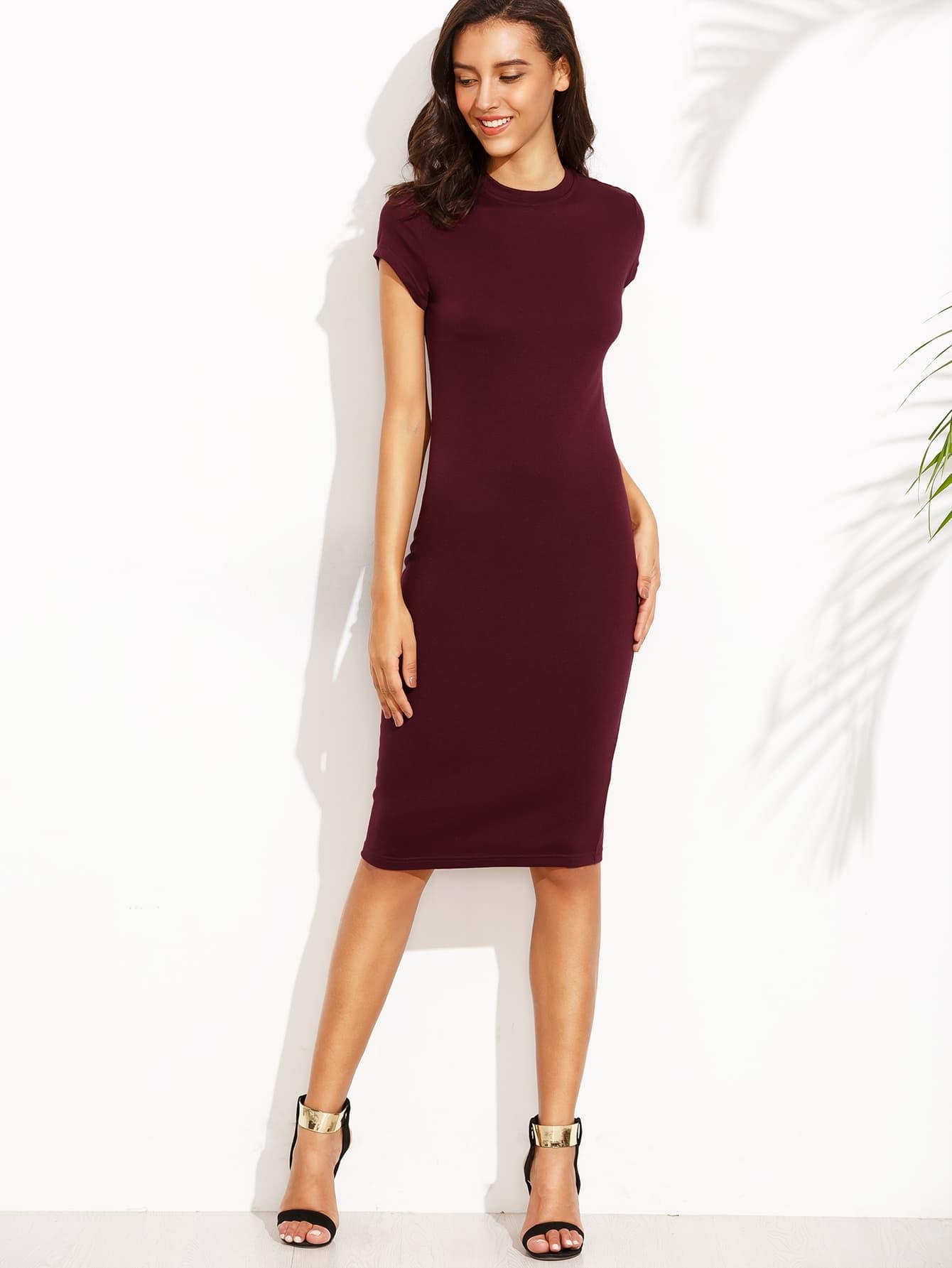 Burgundy Crew Neck Short Sleeve Sheath Dress