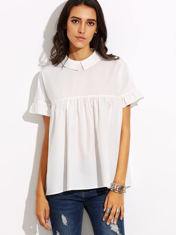 59d31ef8245 White Peter Pan Collar Buttons Back Blouse