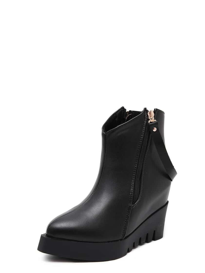 black faux leather side zipper wedge boots shein
