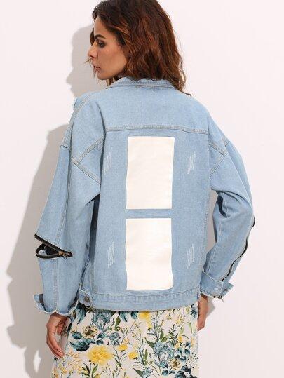 Pale Blue Ripped Zipper Denim Jacket -SheIn(Sheinside)