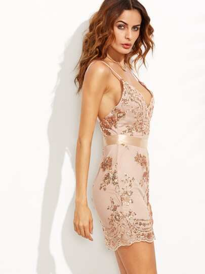 cafba541b Open Back Plunge Sequins Cami Dress