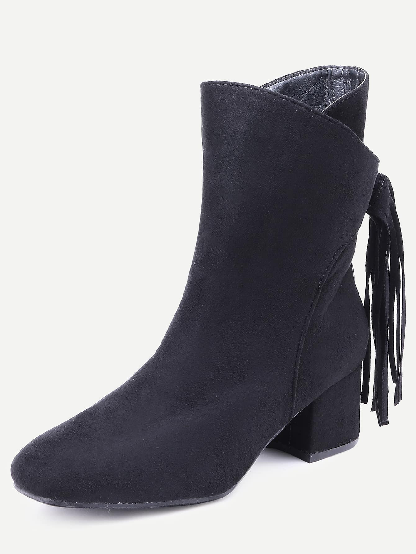 black suede fringe point toe boots shein sheinside