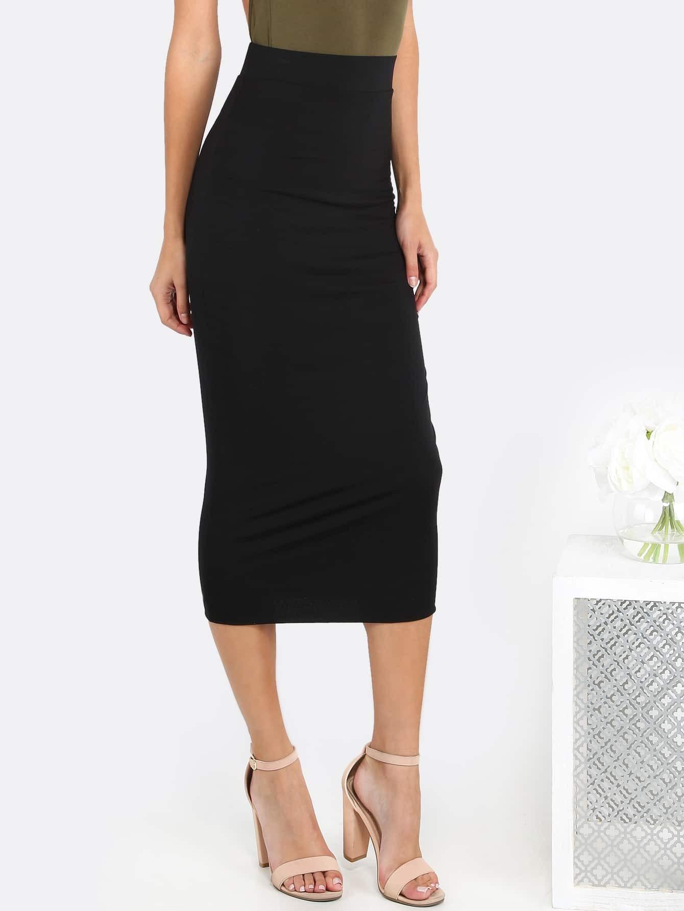 high waisted pencil midi skirt black shein sheinside