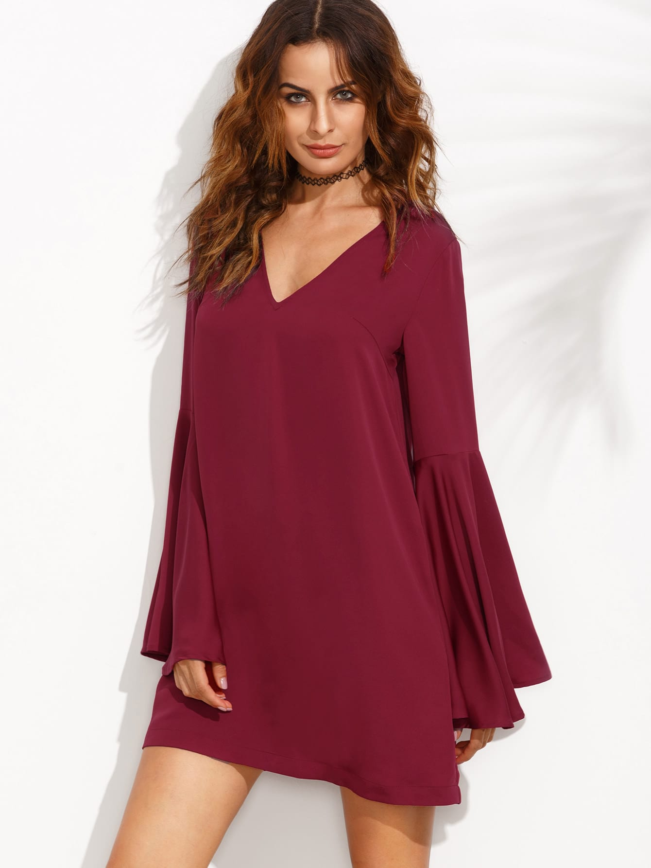 Burgundy V Neck Ruffle Long Sleeve Shift Dress