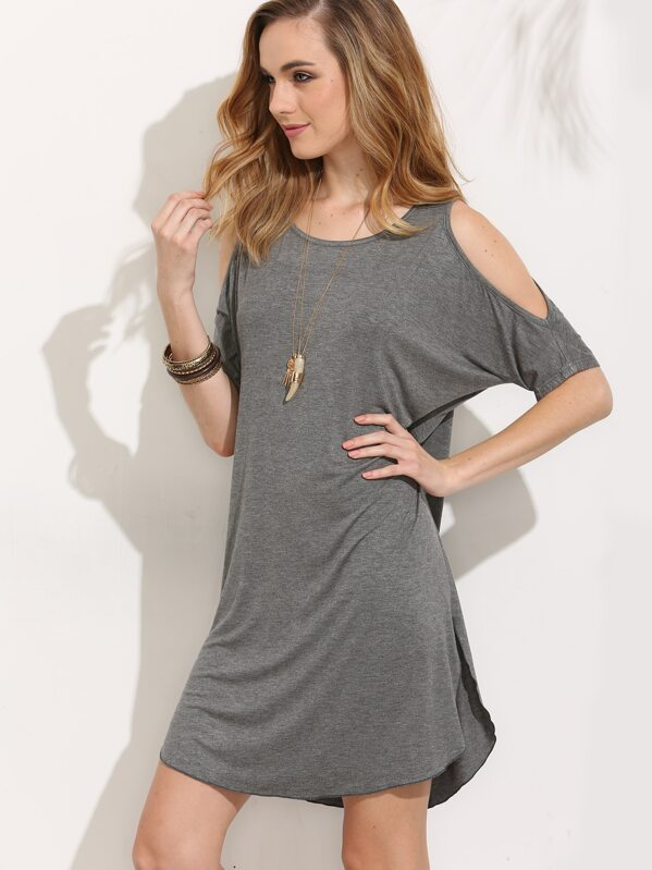 4f298f5ec6 Cheap Grey Cold Shoulder Split Shift Dress for sale Australia | SHEIN