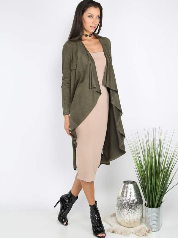 db9b23850 Suede Waterfall Duster Coat OLIVE