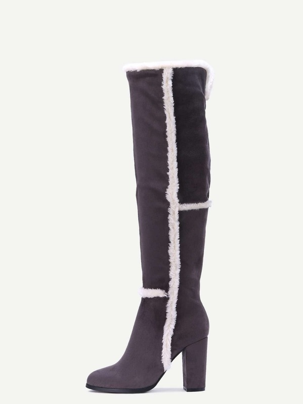 6aab0c195e Grey Faux Suede Point Toe Knee High Boots | SHEIN UK