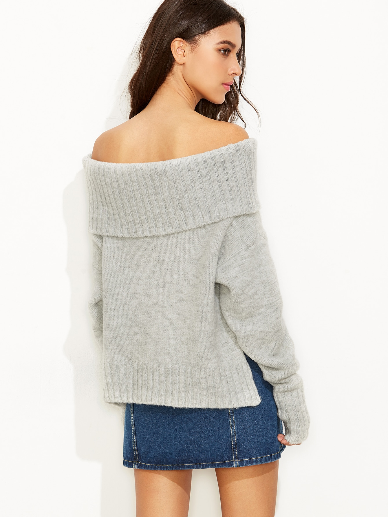 grey fold over off the shoulder slit sweater shein sheinside. Black Bedroom Furniture Sets. Home Design Ideas