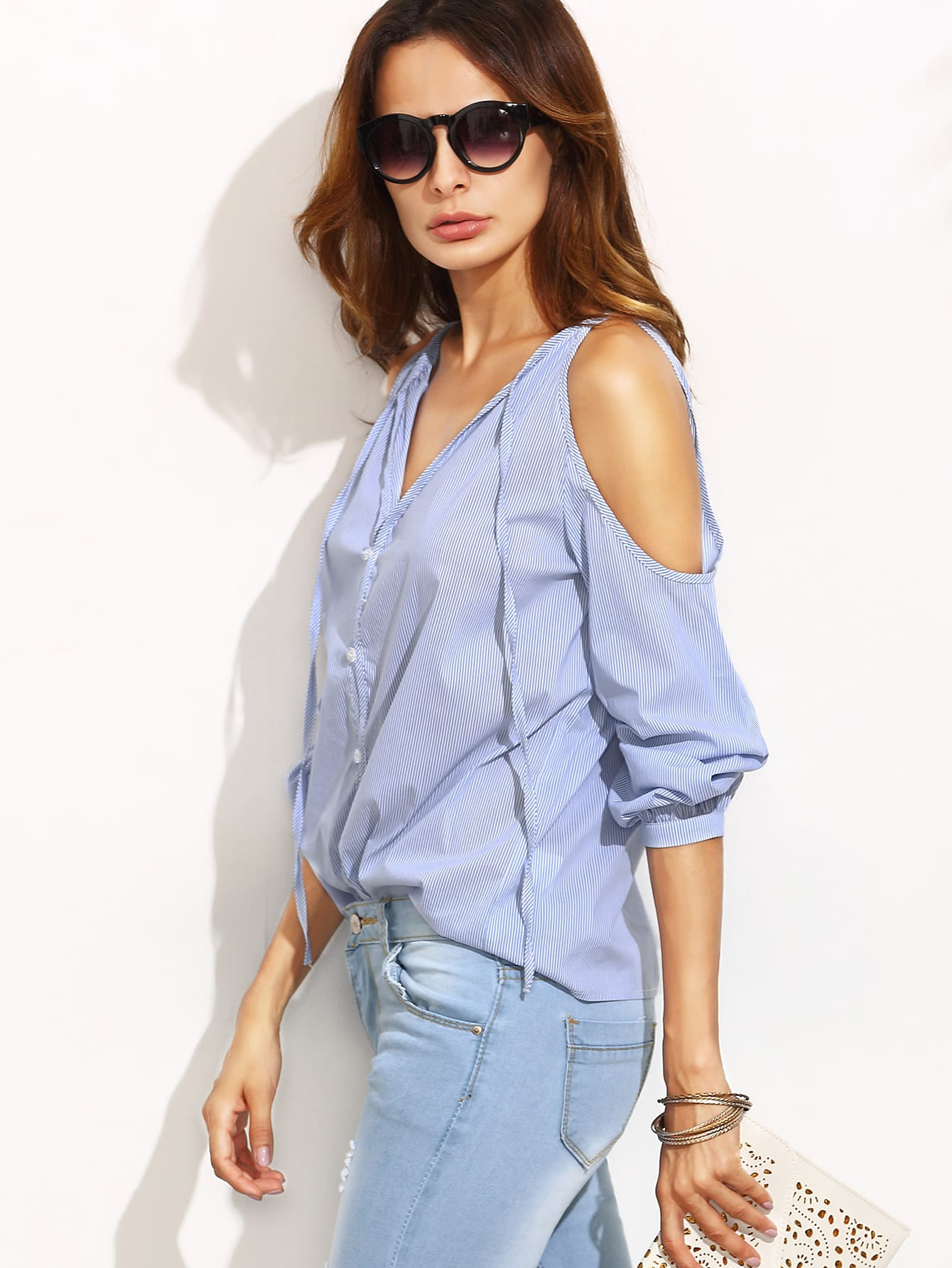 Blue Stripe V Neck Cold Shoulder Long Sleeve Blouse