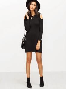 b7439e00f329b Cheap Black Knitted Cold Shoulder Long Sleeve Sheath Dress for sale  Australia