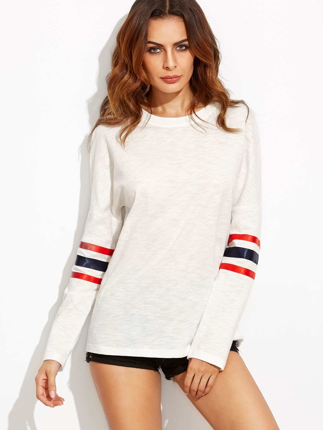 White Drop Shoulder Striped Sleeve T-shirt