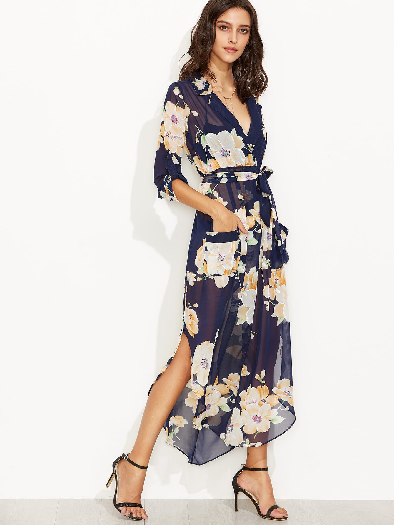 Floral Print Self Tie Surplice Wrap Sheer Dress Sheinsheinside