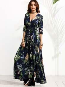 Calico Print Plunge Neck Button Front Maxi Dress  5a8720f53