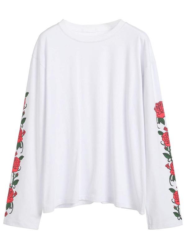 48d6d7cf85 Rose Print Sleeve T-shirt | SHEIN
