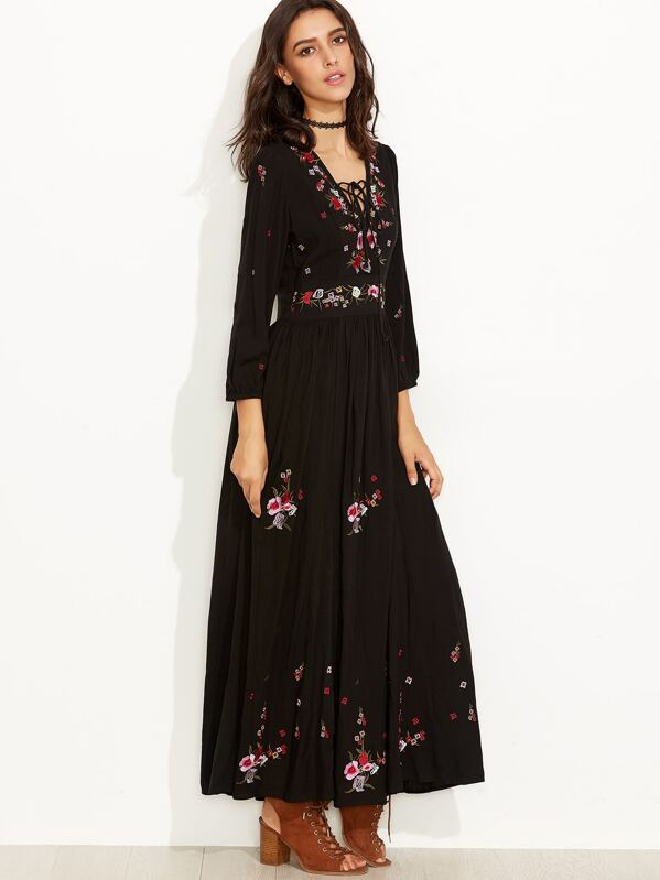 Black Flower Embroidered Long Sleeve Maxi Dress Shein