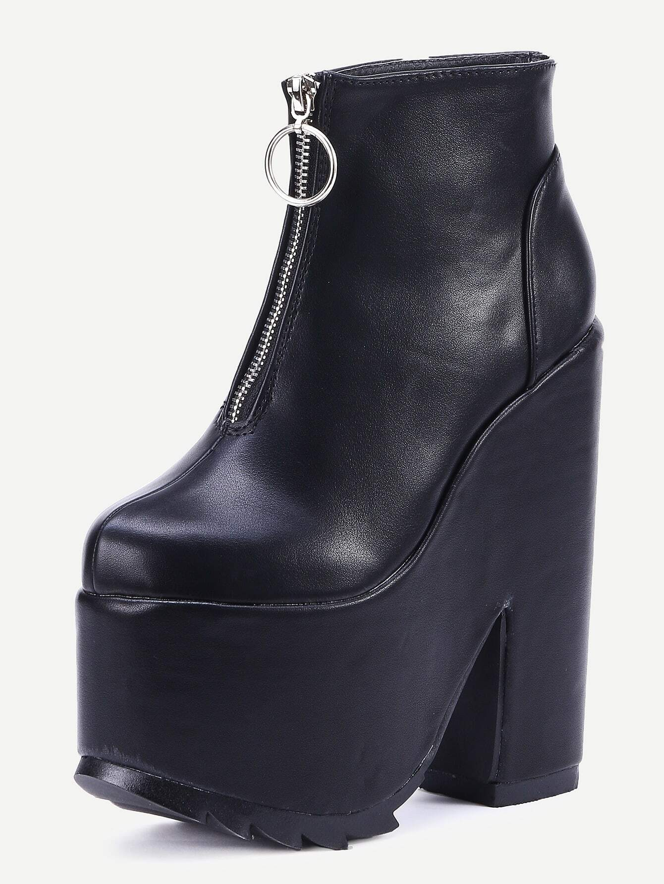black faux leather zipper platform boots shein sheinside