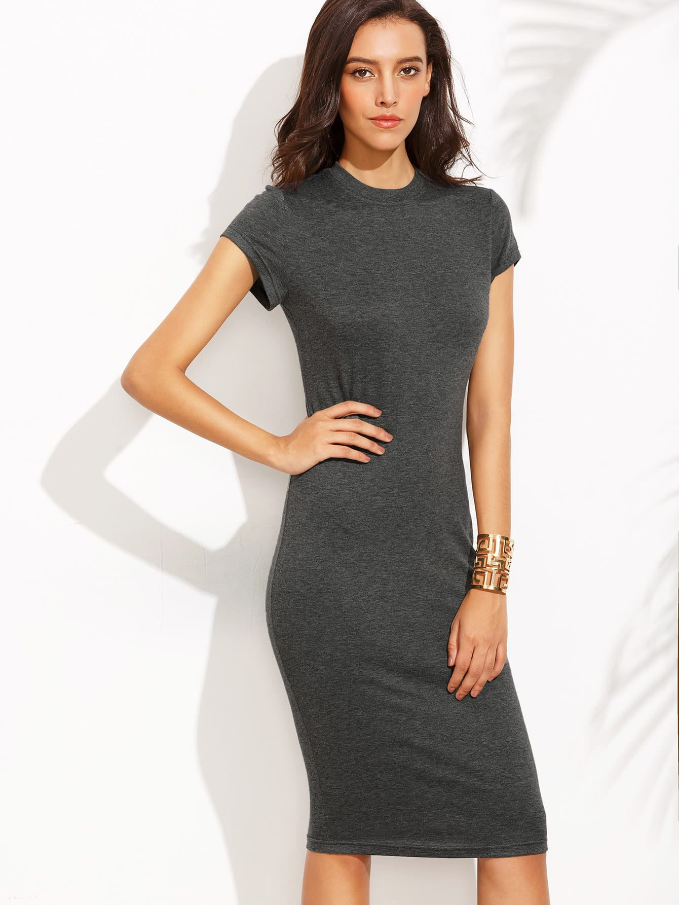 Grey Crew Neck Short Sleeve Sheath Dress