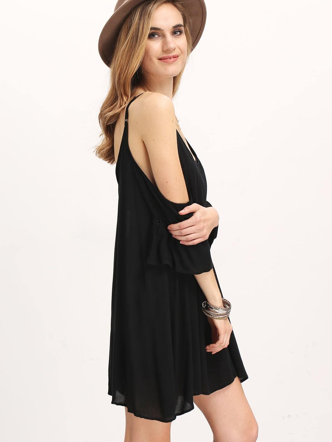 Black Spaghetti Strap Off The Shoulder Dress Shein Sheinside