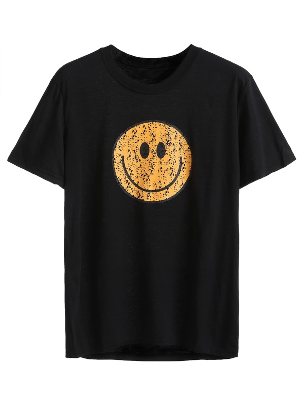 ad3dd50291 Black Smile Face Print T-shirt | SHEIN IN