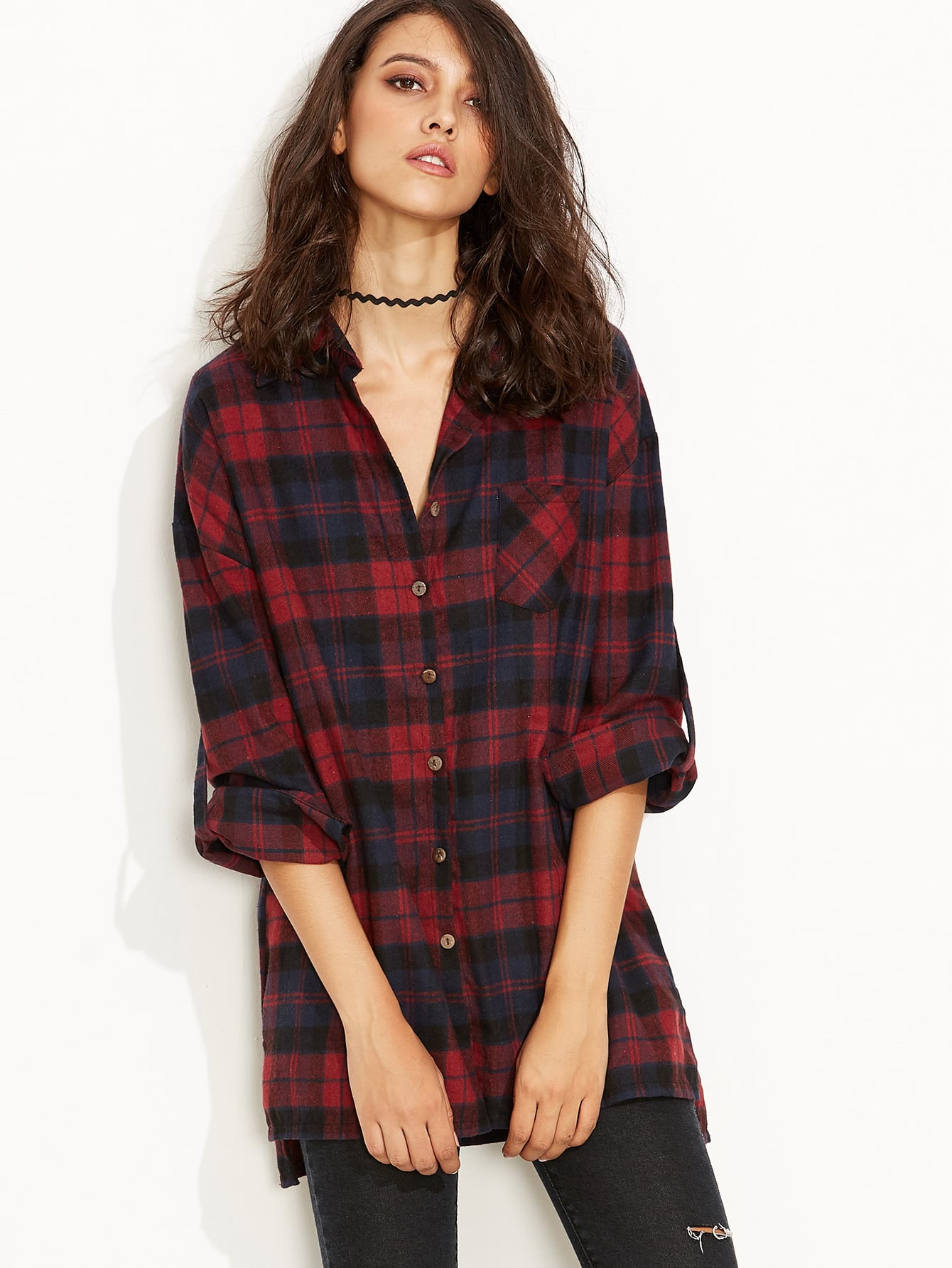 b5007aab1a20 Cheap Burgundy Plaid Roll Tab Sleeve Slit Side Dip Hem Shirt for ...