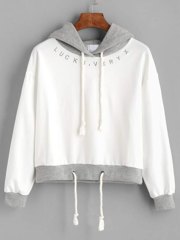 1bc7f3b5d0ec Contrast Letter Embroidered Drawstring Hoodie
