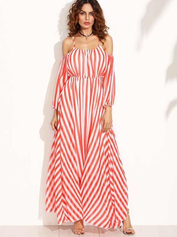 25c221be220be Vertical Striped Cold Shoulder Chiffon Dress | SHEIN IN