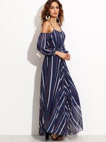 77dc6c090ed91 Navy Stripe Cold Shoulder Chiffon Dress | SHEIN