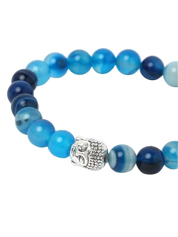 ad3639964de9 Brazalete con cuentas de piedra cabeza de buda - azul