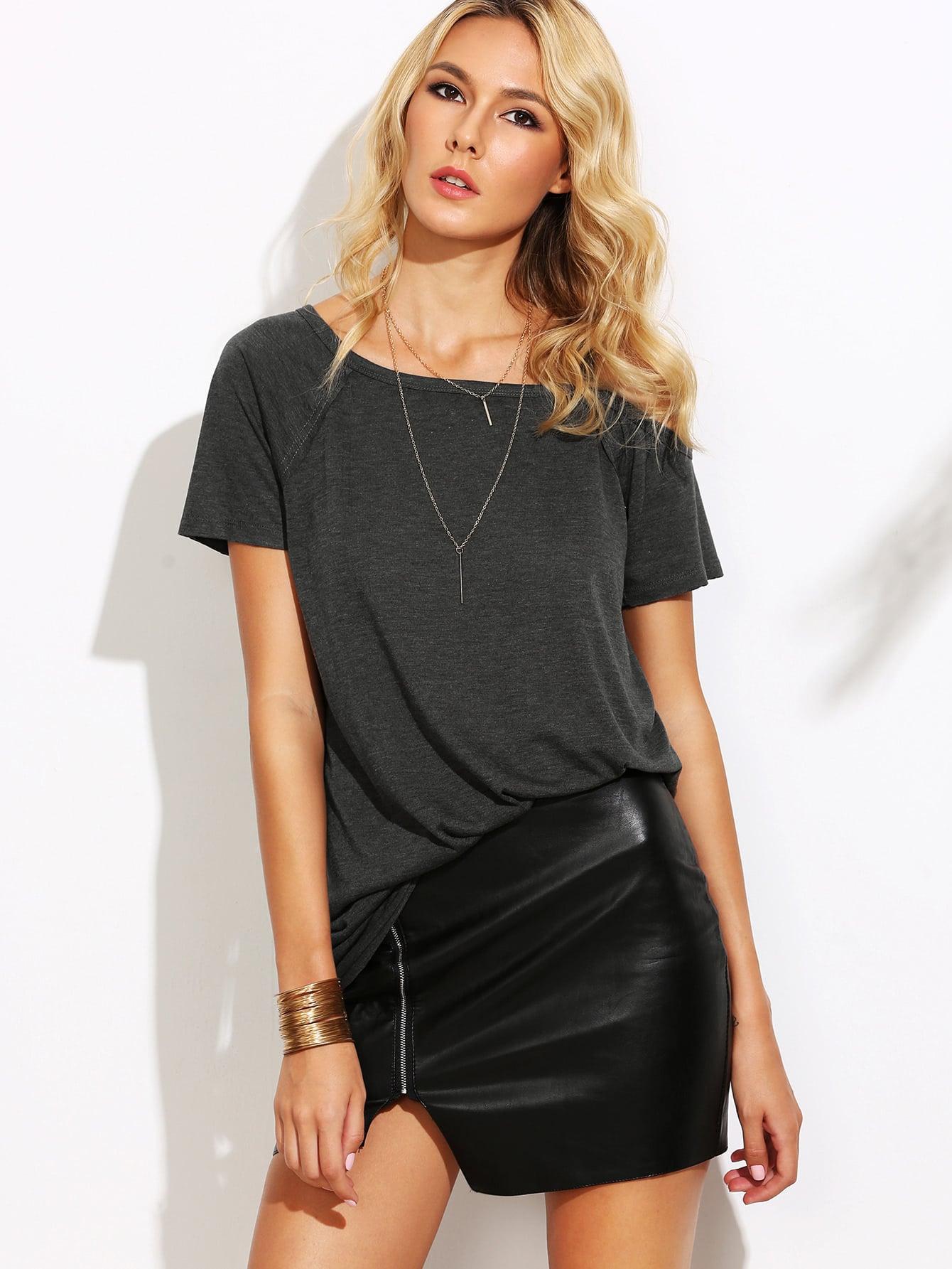 Heather Grey Asymmetric Cold Shoulder T-shirt