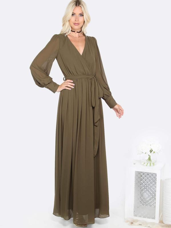 93b9822f2b Olive Green Cuff Sleeve Surplice Wrap Dress | SHEIN