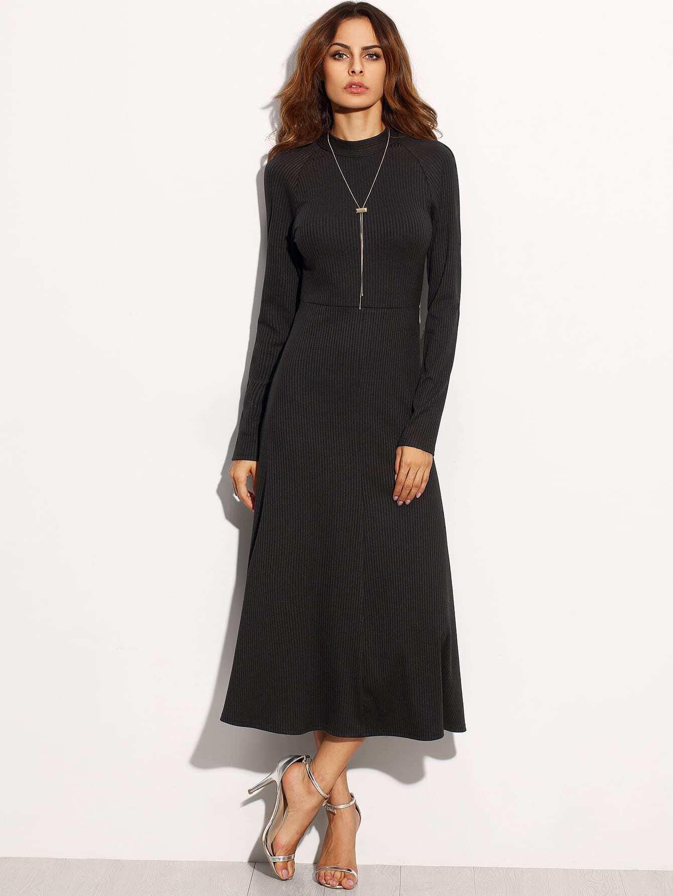Black Tie Cut Out Back Long Sleeve Dress