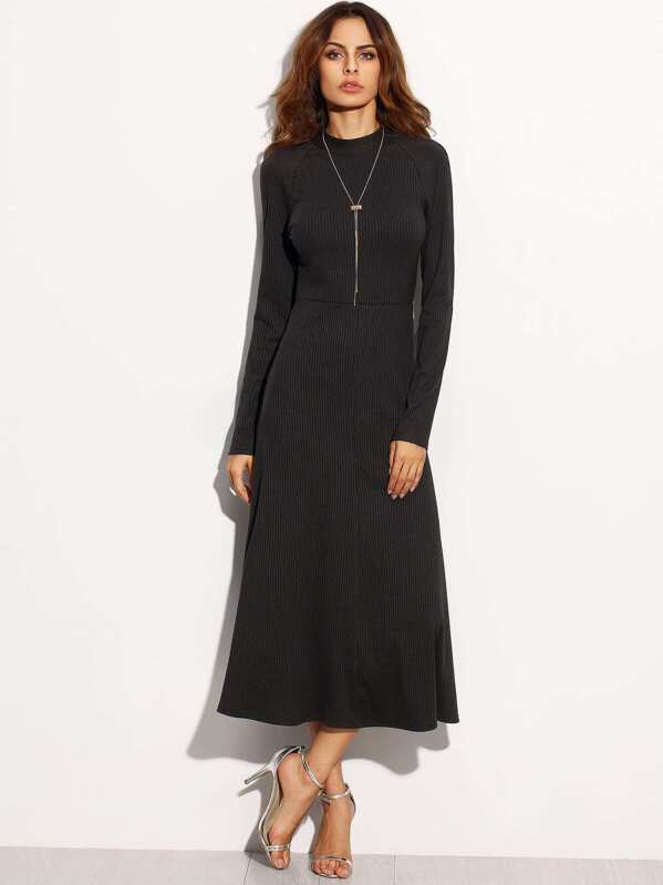 Black Tie Cut Out Back Long Sleeve Dress Sheinsheinside