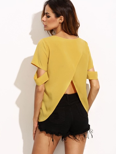 Cross Back Ripped Sleeve Top