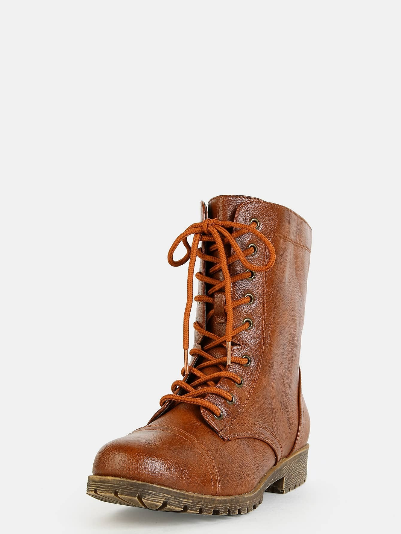 chunky heel combat boots chestnut shein sheinside