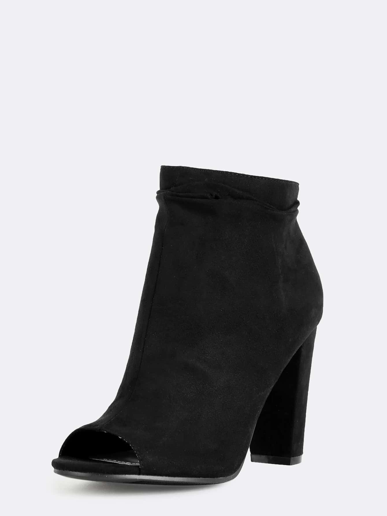 slouchy peep toe ankle boots black shein sheinside