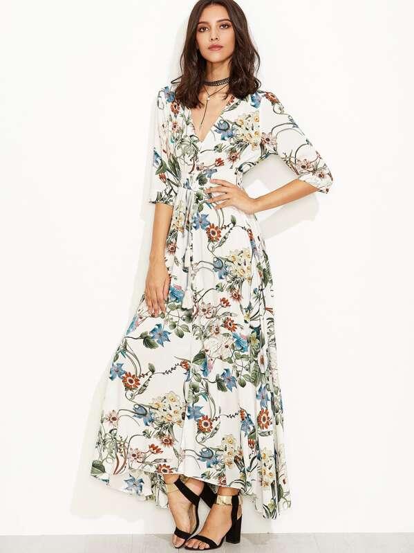 540c2f91fac Plunge Split Front Elbow Sleeve Floral Print Dress