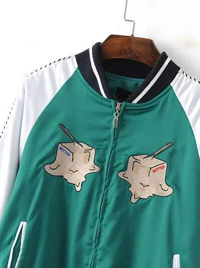 Green embroidery zipper up varsity jacket shein sheinside
